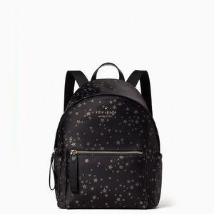 ♠️Kate Spade Chelsea Scattered Stars Jacquard Nylon Medium Backpack Blac…